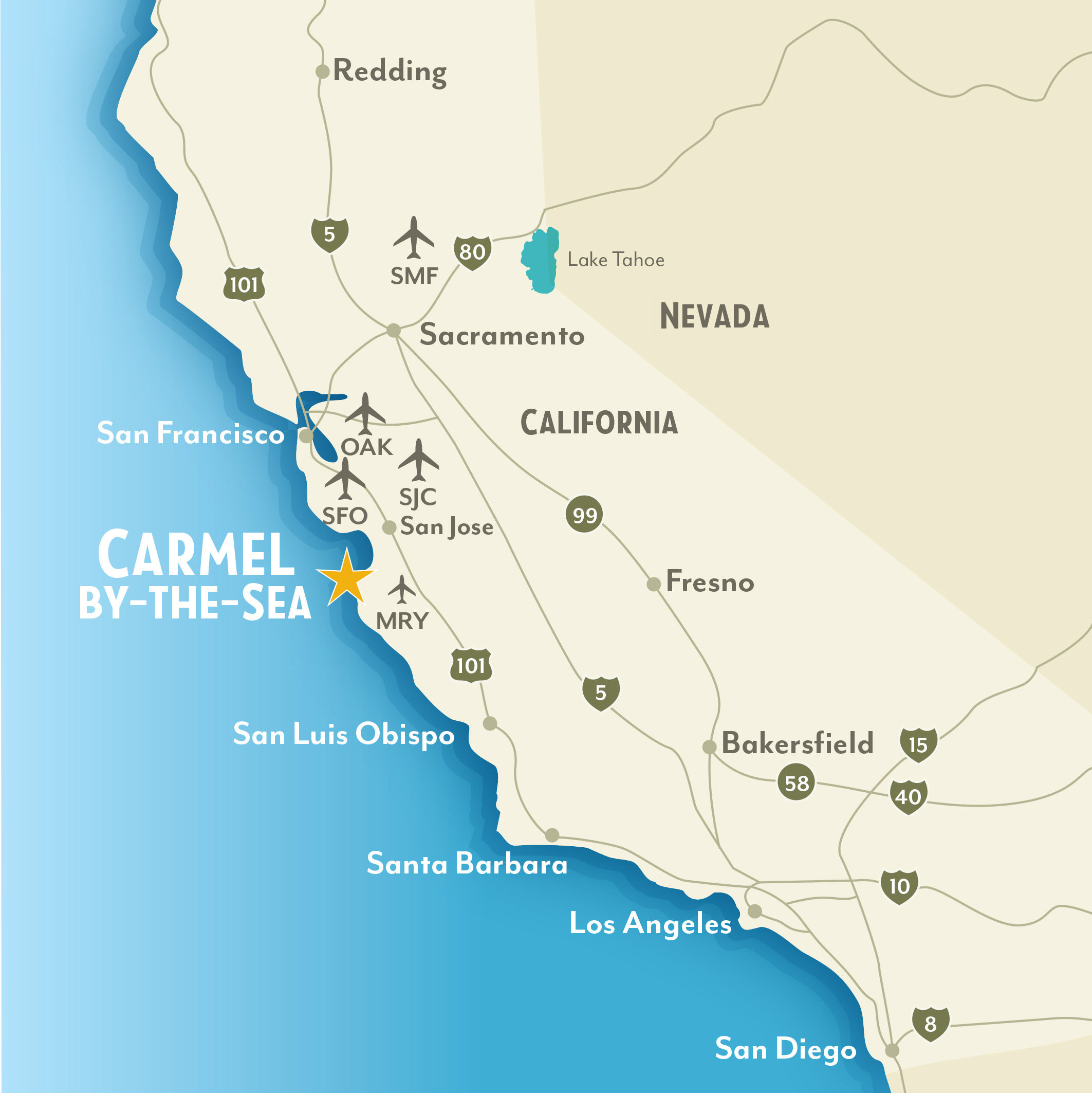Getting To Around CarmelbytheSea California - Map of calif
