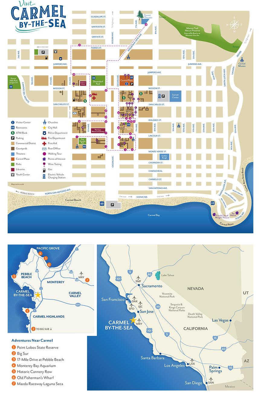 Map of Carmel-by-the-Sea & Surrounding Areas (Media Kit - Carmel-by Carmel California Map on